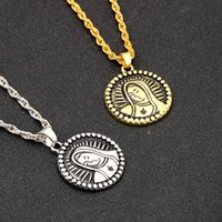 Wholesale pendant carved rose for sale - Group buy Simple Vintage Carved Coin Pendant Necklace For Women Face Goddess Virgin Mary Statement Necklace Rose Angel Long Chain Necklace