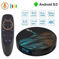 ingrosso quad negozi-HK1 Max Android 9.0 TV Box 4GB 64GB Telecomando vocale RK3318 1080P H.265 4K 60fps BT4.0 Google Play store Netflix Youtube Set top box