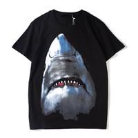 t shirts men al por mayor-Diseñador de lujo para hombre T Shirt Diseñador de manga corta moda Shark impresión alta calidad hombres mujeres Hip Hop Tees