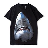 printed t shirt toptan satış-Lüks Erkek Tasarımcı T Shirt Tasarımcı Rahat Kısa Kollu Moda Köpekbalığı Baskı Yüksek Kalite Erkekler Kadınlar Hip Hop Tees