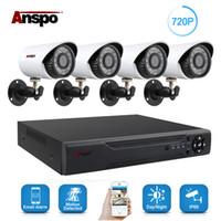 kit de cctv de seguridad para el hogar al por mayor-Anspo 4CH AHD DVR Sistema de sistema de cámara de seguridad para el hogar Visión nocturna al aire libre IR-Cut CCTV Inicio Vigilancia 720P Cámara blanca