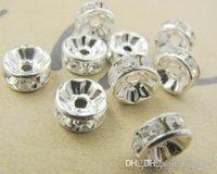 weiße metallarmbänder großhandel-8 MM Weiß Kristall Spacer Metall Silber Überzogene Rondelle Strass Lose Perlen Für Beste DIY Schmuck Machen Fit Armband