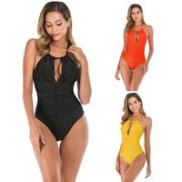 mais tamanho amarelo swimwear venda por atacado-Plus Size S-XXXL One Piece Mulheres Swimwear Sexy Smock Magro Monokini Laranja Preto Amarelo Lady Swimsuit Designer Maiôs