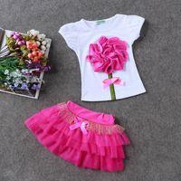Wholesale girls clothing online - 7 colors Kids girls princess wedding flower T shirt tulle tutu dresses set flower baby fashion clothes