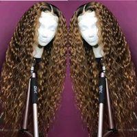 tonlar ombre saç 27 toptan satış-Tam Dantel İnsan Saç Peruk Ombre Iki Ton 1B 27 Derin Dalgalı Brezilyalı Bakire Saç 150 Yoğunluk Doğal Saç Çizgisi Tutkalsız Ağartılmış Knot
