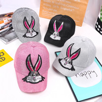 Wholesale outside ball resale online - Summer children sequins rabbit sun hats baseball caps baby outside cute ball cap for different colors