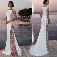 vestidos de novia de playa de verano blanco al por mayor-Verano bohemio playa sirena vestidos de novia 2019 encaje blanco satinado más tamaño vestidos de fiesta nupcial Vestidos De Novia