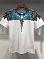 serie de camisetas al por mayor-19SS El nuevo estilo Camiseta estampada con plumas de ave Camisetas de diseñador MARCELO BURLON Camiseta de moda