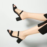Wholesale small shoes 32 for sale - Group buy Sexy2019 Coarse Clothes Two With Down Noodles Toe Small Sandals Will Women s Shoes