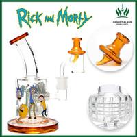 ingrosso perti bent bong-Rick e Morty dab rig Toro vetro bong olio rig femminile 14.4mm mat quarzo banger carb tappo acqua bong vetro gorgogliatore spedizione gratuita