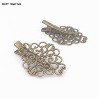 Wholesale copper jewelry findings for sale - Group buy 100pcs Hairpin Duck tongue mm Flower Leaves mm Antique bronze Copper Fallen Petals Hair Jewelry Base settings Finding