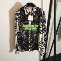 cap panel tier großhandel-Frauen Animal Print Shirts Mode Revers Hals Getäfelten Langarm Die Hohe Qualität Anpassen Cap Sleeve Shirt S-M-L