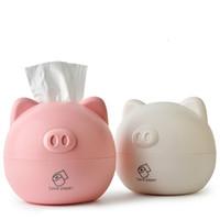 weiße plastikboxen großhandel-Kunststoff Tissue Box Schwein Serviette Box rosa weiße runde Schwein Kopf Qualität wasserdicht langlebig starke Heim Auto Toilette niedlich einfachen Stil Papierrolle