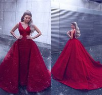 Wholesale evening gowns online - Red Sparkly Sequins Evening Dresses Overskirt Formal Pageant Arabic Gowns Sheath V Neck Floor Length Prom Dress Custom Made