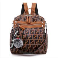 mochila de cuero al por mayor-Bolso FF Mochilas de mujer Diseño de boutique Moda Damas Satchel Retro Bolsos de hombro de cuero de PU Fends Marca Mochila Adolescentes B7202