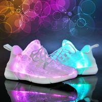 zapatillas de deporte blancas usb al por mayor-Luminoso tejido de fibra óptica Light Up Shoes LED 11 colores blanco intermitente AdultosChicas Zapatillas recargables USB con luz