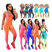 Wholesale tight lycra legging for sale - Love Pink Letter Women Outfit Gradient Scoop Neck Sleeveless Tank Top Vest Tights Pant Legging Summer Tracksuit Sportswear Camis Suit A21902