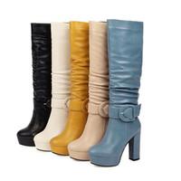 морщинистые сапоги оптовых-Плюс размер 32 до 46 сексуальных коренастых пяток морщинистого колена высоких сапог дизайнер обувь 5 цветов