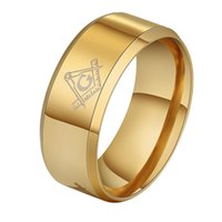 Wholesale hot wedding masonic rings for sale - Group buy Hot mm Brushed Gold Color Masonic Stainless Steel Titanium Band Men Ring Cool Black Freemason Male Rings
