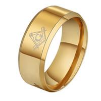 anéis de maçom preto venda por atacado-Hot 8mm Escovado Gold-Cor Maçônica de Aço Inoxidável Titanium Banda Homens Anel Cool Black Freemason Anéis Masculinos