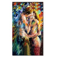 Wholesale nude lovers paintings for sale - Group buy 100 Handmade Nude oil painting on canvas Abstract Thick Knife Lovers Sex Love Art Home Hotel Bar wall art decor DH9
