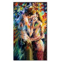 живопись секс оптовых-100% Ручная Обнаженная картина маслом на холсте Абстракция Любители толстых ножей Sex Love Art Home Hotel Bar wall art decor DH9