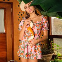 beb4974dc0 Discount boho hippie clothes - Tangerine Printed Playsiut Women Pink Short  Sleeve Square Collar Retro Jumpsuit