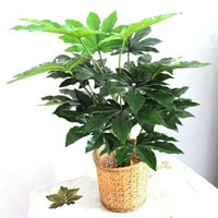Wholesale fake christmas trees for sale - Group buy 66cm Latex Artificial Evergreen Pachira Plant Tree in Wedding Home Beach Office Furniture Decor Green Branch Fake Foliage