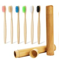 Wholesale toothbrush hotel for sale - Group buy Soft Bristle Bamboo Toothbrush Set With Bamboo Tube Travel Toothbrushes Packaging Adult Oral Hygiene Whitening Use Hotel Supplies