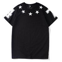 hommes t shirts etoiles achat en gros de-Hommes De Luxe Designer T-shirt Designer Casual Manches Courtes De Mode Étoiles Impression de Haute Qualité Hommes Femmes Hip Hop Tees