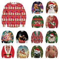 suéteres de navidad con cuello en v al por mayor-Alisister Suéter feo de la Navidad de Santa Claus Imprimir flojo con capucha mujeres de los hombres suéter de la novedad de la Navidad, Invierno, Otoño tema V191028