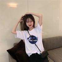 mode imprimé t shirts filles achat en gros de-Femmes 3D T-shirts imprimés d'été Fashion Star manches courtes filles Designer Tops Paillettes femmes G Chemises Livraison gratuite