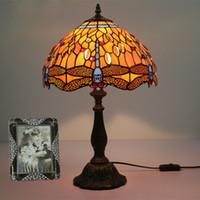 ingrosso lampade da tavolo arancioni-2018 Tiffany Orange Dragonfly Table Light Hotel Soggiorno Lampada da camera Lampada da tavolo vintage europeo Lampada da comodino creativa di lusso
