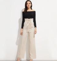 элегантные широкие штаны для ног оптовых-2019 summer women clothing high waist wide leg pants women elegant ruffled lace trousers