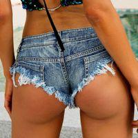 sıcak yaz kız kot toptan satış-Seksi Saçaklı Delik Denim Şort Kadın Düşük Rise Bel Jean Şort Yaz Kız Sıcak Ganimet Beachwear Hotpants