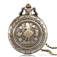 yuvarlak kolye tasarımı toptan satış-Vintage Bakır Moda Güzel Güzellik Kız Tasarım Kadın Kolye Yuvarlak Dial Kuvars Pocket saat Kolye Zincir Hatıra Hediyeler ile Bayanlar için