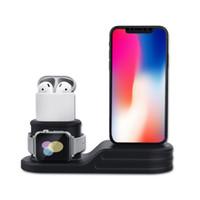 apfel wiege ladung großhandel-Silikon 3 in 1 Ladestation Station Halterung Ladestation Halter Ladegerät für iPhone X 8 7 6S Plus 5S Dock für Apple Watch Iwatch Ladegerät