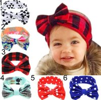 Wholesale lace polka dot baby hair for sale - Group buy 6 Colors INS Lovely bowknot headbands Polka Dots Plaid Print kids Hair accessories fashion lovely bow kids baby children hairband free ship