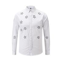 xxxl stickerei-shirt großhandel-2019 New Fashion Herrenhemden Smart Shirt Stickerei Sterne Schwarz Und Weiß Farbe Bedeckt Taste M bis XXXL