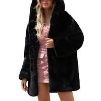 moda kadınlar kışlık montlar toptan satış-Faux Fur Uzun Kapşonlu Coat Kış Sıcak Sıcak Siyah Renk kadın Ceket Moda Kürk Mantolar Yepyeni s-3XL