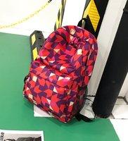 модные школьные рюкзаки оптовых-3pcs Новых рюкзаки корейской версии модного геометрический рисунок нейлон школа сумка обшитого рюкзак с большой емкостью