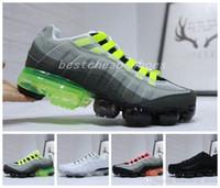 sapatos de néon azul verde venda por atacado-2019 New Ultra 20o Aniversário 95 Neon Og Homens Tênis de corrida Branco Verde Azul 95 s Mens Formadores Tênis Zapatos Tênis Tamanho 40-45