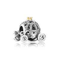 encantos al por mayor-Auténtica plata esterlina 925 logotipo de Charms del coche de la calabaza Caja original para los encantos europeos de la pulsera de Pandora para la fabricación de joyas