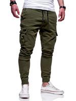 pantalones de correr de fitness para hombres al por mayor-Pantalones de carga a rayas causales Pantalones deportivos para hombres Pantalones ajustados con gimnasia con cordón para hombres Ropa para correr de moda