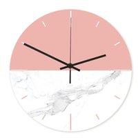 impresión uv acrílico al por mayor-1 unid Reloj de pared Impresión UV Colgante Mármol Grano Acrílico Reloj redondo Decorativo Sin batería Para Office Home Store