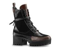 ayak bileği çizme kadınlar düşük topuklu toptan satış-Kadınlar Lüks tasarımcı çizmeler Deri ayak bileği çizme tıknaz topuk Martin ayakkabı Boot 5cm Düşük Chunky topuklu Platformu Çöl Dantel-up Deri yazdır