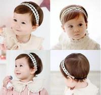 kafa bandı prenses korece toptan satış-Bebek Kız Bantlar Kore dantel Rhinestone Prenses Şapkalar Çocuklar Elastik Şerit Hairbands Çocuk Saç Aksesuarları Headdress