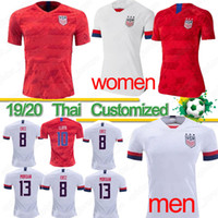 mujer jersey de estados unidos al por mayor-Copa mundial tailandesa 2019 America Soccer Jersey CAMPEONES local visitante Camisa USA mujeres 4 estrellas LLOYD RAPINOE KRIEGER Uniforme de fútbol Copa mundial tailandesa