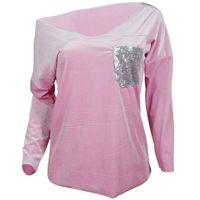03046da443ed5 Women T-Shirts Long Sleeve V- Neck Plain Basic Ladies Stretch T-Shirt Top  New Fashion Women Clothes Tops Casual