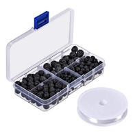 lose bespannungsperlen großhandel-300pcs schwarzer Lavastein runde lose Korne mit freier Kristallschnur für die Schmuckherstellung